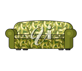 Camouflage military sofa. Army Soldier couch isolated. Illustration for 23 February. Traditional gift for Day of Defenders of Fatherland. Military holiday in Russia