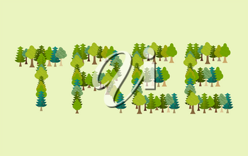 Tree lettering. Letters from Forest. Nature typography