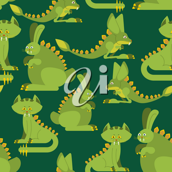 Prehistoric rabbit dinosaur seamless pattern. Dino cat ornament. Raptor jerboa monster texture. Background for childrens cloth. Jurassic Animals Set
