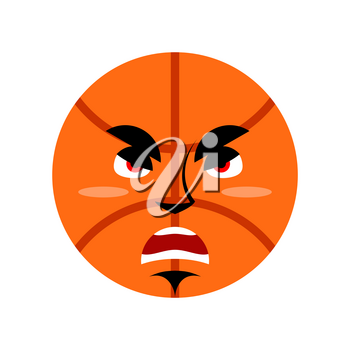 Basketball angry Emoji. Ball grumpy emotion isolated