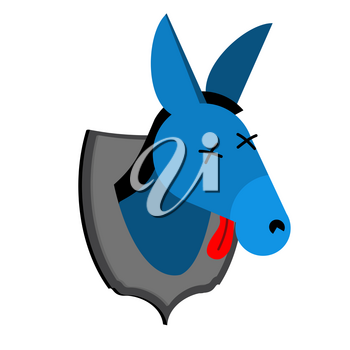 Blue donkey hunter trophy Democrat in office of Republicans. Political illustration USA
