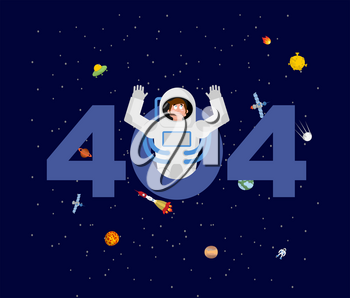 Error 404. astronaut surprise. Page not found template for web site. spaceman does not know and is surprised. Page lost and found message. problem disconnect
