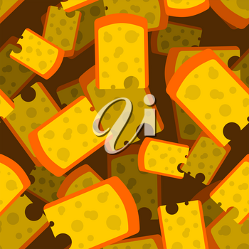 Cheese piece seamless pattern 3D. Yellow dairy product background