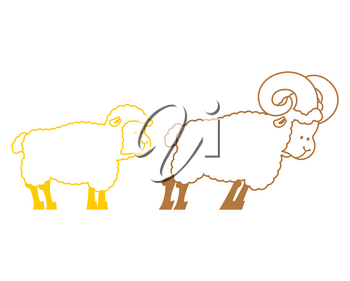 Sheep and ram. Farm animals linear symbol