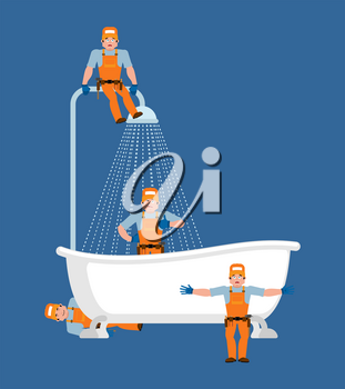 Plumber and bath service. Repair and maintenance of bathrooms. Vector illustration