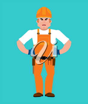 Builder angry. Worker in protective helmet evil. Service worker Serviceman aggressive. Vector illustration