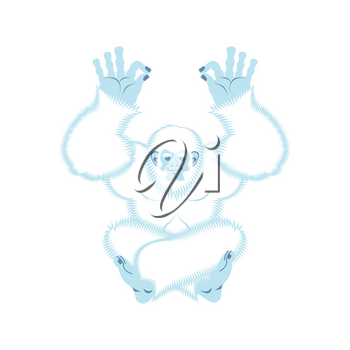 Yeti yoga. Bigfoot yogi. Abominable snowman relaxation and cognition. Vector illustration
