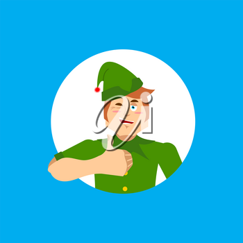 Elf Santa helper thumbs up and winks emoji. New Year and Christmas vector illustration