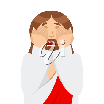 OMG Jesus is Facepalm. Oh my god Christ is disappointed. Disappointment is son of God. Illustration of frustration
