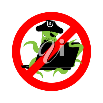 Stop Web pirate Octopus and laptop. Ban sign poulpe internet hacker and PC. Prohibiting devilfish buccaneer and computer. Eye patch and smoking pipe. pirates cap. Bones and Skull. See animal filibuster. Wrong prohibition sign