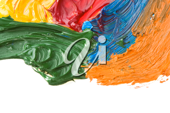 color paints isolated on white background
