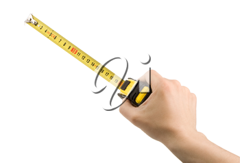 hand measuring by tape measure isolated on white background
