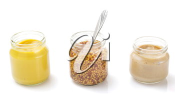 mustard sauce set collection isolated on white background
