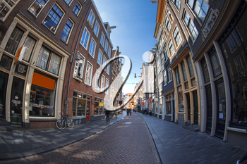 streets of a European city of Amsterdam. Photos for wide angle fisheye