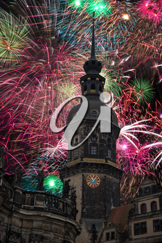 festive fireworks in Dresden at night. Germany.