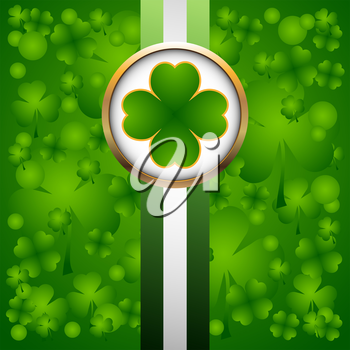 Clover leaf on green background for happy St. Patricks Day