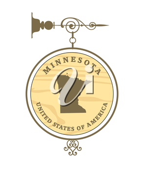 Vintage label with map of Minnesota, vector