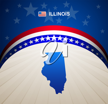 Illinois map vector background