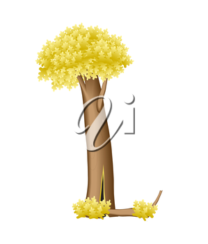 Letter in the form of tree vector