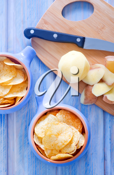 potato chips in bowl and on a table