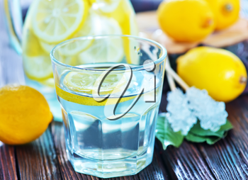 lemonad in glass and on a table