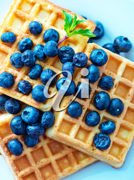 waffle with blueberry on the plate and on a table