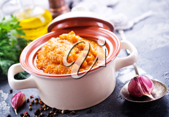 caviar from baked vegetables with salt and spice