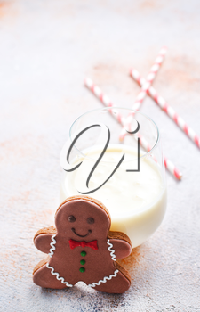 gingerbread with milk on a table, stock photo