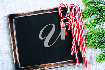 Christmas background, Christmas decoration and black board for note
