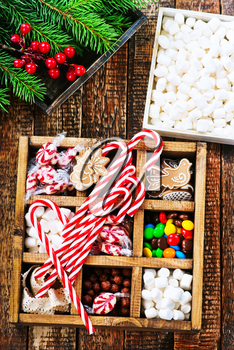 christmas candy in box and on a table
