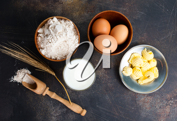 baking ingredient on a table, stock photo