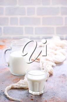 fresh milk in glass and jug on a table