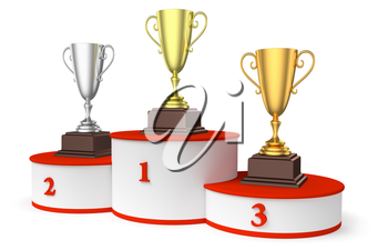 Sports winning and championship and competition success concept - golden, silver and bronze winners trophy cups on round sports pedestal, white winner podium with red stairs, diagonal, 3d illustration