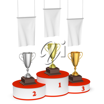 Sports winning, championship and competition success concept - winners trophy cups on round sports pedestal, white winners podium with red stairs and blank white flags, 3d illustration, left