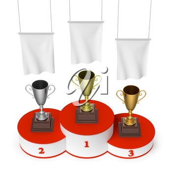Sports winning, championship and competition success concept - winners trophy cups on round sports pedestal, white winners podium with red stairs and blank white flags, 3d illustration, top view