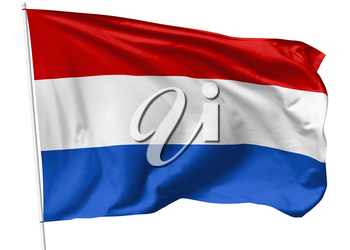 National flag of Kingdom of the Netherlands on flagpole flying in the wind isolated on white, 3d illustration