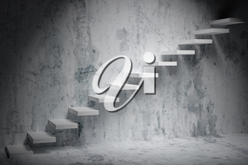 Business rise, forward achievement, progress way, success and hope creative concept: Ascending stairs of rising staircase in dark rough empty room with spot light 3d illustration