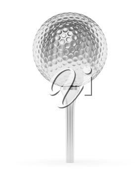 Golf sport competition winning and golf trophy concept: silver shiny golf ball on the tee with shadow isolated on white background 3d illustration
