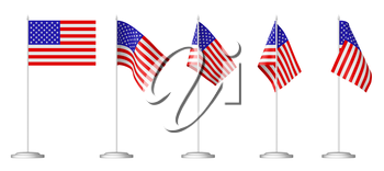 Small table flag of United States of America on stand set isolated on white 3D illustrations.