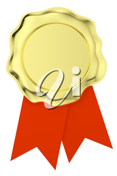 Gold sealing wax seal stamp without sign on red ribbons isolated on white background 3d illustration