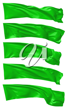 Long green flag flying and waving in the wind isolated on white collection, 3d illustration set