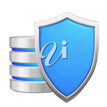 Database behind blue metal shield protected from unauthorized access, data protection concept, 3d illustration icon isolated on white background for Data Protection Day