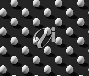 White chicken eggs with shadow on black colorless isometric seamless background, achromatic black background, 3D illustration.