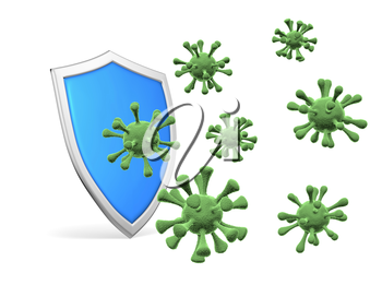 Shield protect form viruses and bacterias isolated on white background 3D illustration, coronavirus protection, medical health, immune system and health protection concept