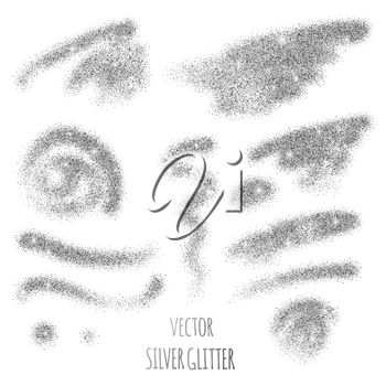 Set of vector Silver sparkles on white background. Silver glitter background.