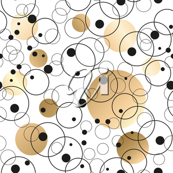 Gold abstract background.  Vector seamless with circles
