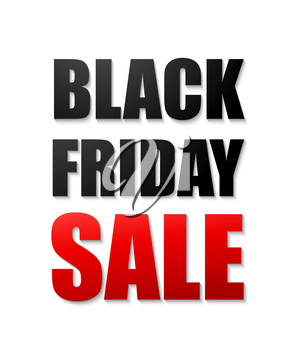 Vector Black friday sales typographic poster. 3d text