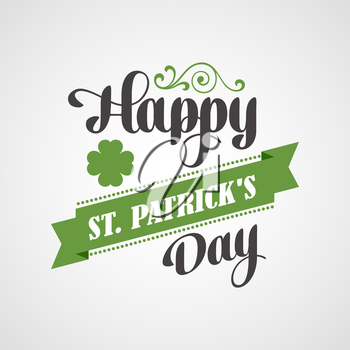 Happy Saint Patrick's Day Lettering Card. Typographic With Ornaments,  Ribbon and Clover