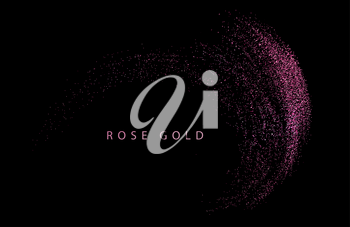 Abstract shiny color rose gold design element with glitter effect on dark background. Fashion sequins for voucher, website and advertising design