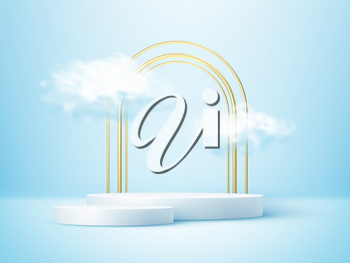 Product display podium decorated with realistic cloud and gold arch frame on blue background. Vector illustration 3D effect